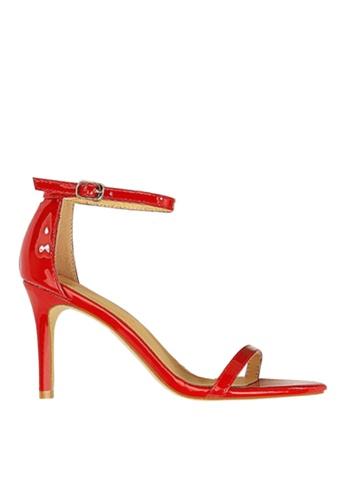 Twenty Eight Shoes 紅色 光亮一字帶高跟涼鞋 VS126A10 5A832SH90B8DAAGS_1