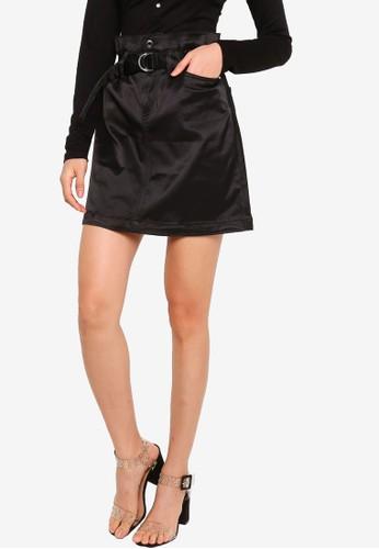 GUESS black Camila Paper Bag Skirt 9887EAAE9062EAGS_1