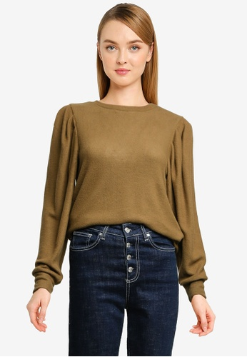 Vero Moda green Tia Long Volume Top 6BCA2AA6A26776GS_1