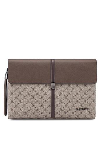 Playboy brown Faux Leather Clutch Bag FC664AC9F3408CGS_1