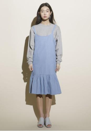韓風荷葉飾吊帶丹寧連身裙, 服飾,esprit台北門市 洋裝