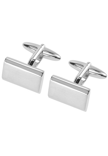 CUFF IT silver Shiny and Brush Silver Plain Cufflinks CU047AC65VPMHK_1