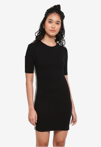 TOPSHOP black Petite Rainbow Striped Bodycon Dress 41A42AA96B9F7DGS_1