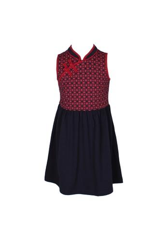 Mini Moley navy Oriental Rings Print Cheongsam Inspired Girl's Dress 62672KAED47FE8GS_1