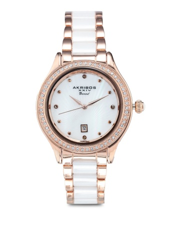 Akribos XXIV white and pink Diamond Watch 7578EAC9F103ECGS_1