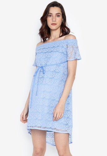 60ef91d47ed2a Great Expectations blue Off Shoulder Maternity Dress C4304AA93D766FGS_1