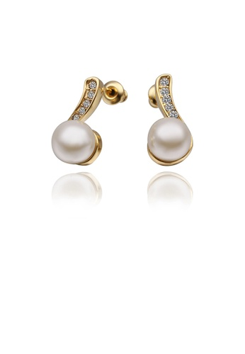 Glamorousky white Elegant Plated Gold Round Pearl Earrings with Austrian Element Crystal 732E5AC748D8DFGS_1
