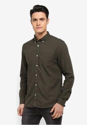 River Island green Long Sleeve Khaki Oxford Shirt EB9FFAA922D8A0GS_1
