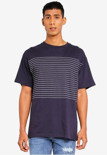 Cotton On 白色 and 海軍藍色 條紋T恤 87B33AA75826C9GS_1