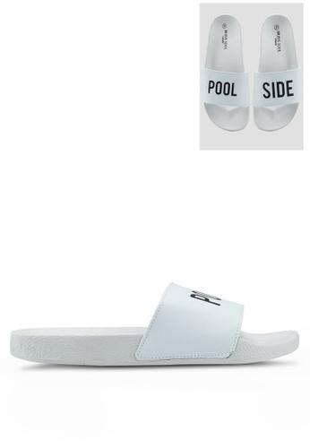 Brave Soul white Poolside Sliders with Slogan 2CA60SHFFAD2B1GS_1