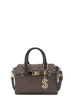 SEMBONIA  SEMBONIA Coated Canvas Trim Leather Monogram Tote Bag (Dark Brown)