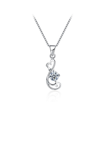 Glamorousky white 925 Sterling Silver Delicate Elegant Fashion Hollow Out Heart Shape Pendant Necklace with Cubic Zircon BBF96AC9F5190CGS_1