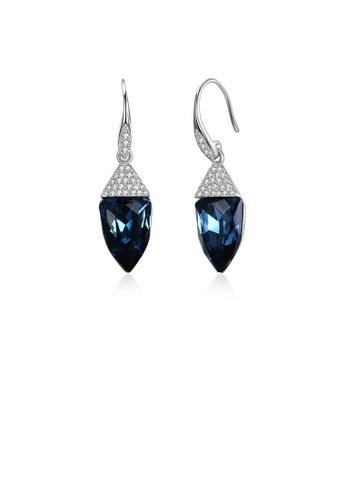 Glamorousky white 925 Sterling Silver Fashion Geometric Water Drop Shaped Blue Austrian Element Crystal Earrings 177D0AC0464710GS_1