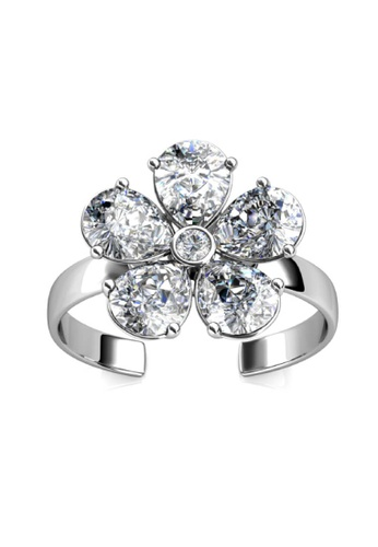 Her Jewellery silver Crystal Petal Ring -  Embellished with Crystals from Swarovski® 9C8F4AC59EC8AAGS_1