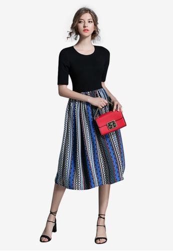 Lara multi Stitching One Piece Dress for Women 7B01CAAAECD5A5GS_1