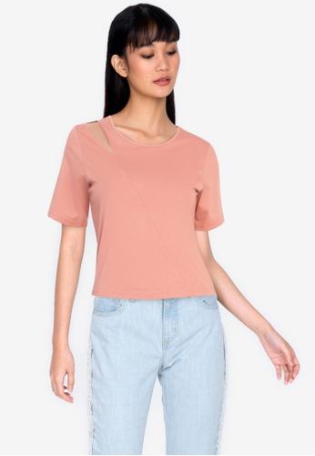 ZALORA BASICS pink Cut-Out Shoulder Top B09BDAA32A6F93GS_1
