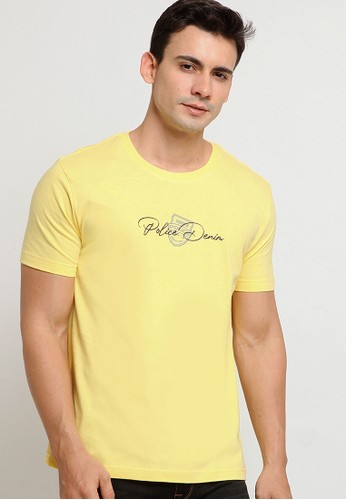 Police Denim yellow Graphic Fashion Tee A15F6AA73FC3BFGS_1