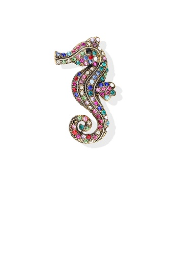 Glamorousky silver Bright and Lovely Plated Gold Color Hippocampus Brooch with Cubic Zirconia F275EAC16C0716GS_1