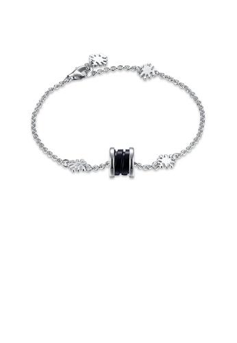 Glamorousky silver 925 Sterling Silver Elegant Fashion Flower Adn Prayer Wheel Bracelet with Black Ceramic 5B51EAC0EC56A9GS_1