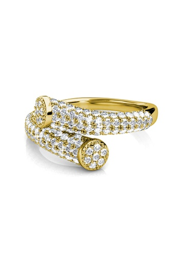 Her Jewellery gold Swarovski® Crystals - Mila Ring (Yellow Gold)(18K White Gold Plated) Her Jewellery HE581AC0RB14MY_1