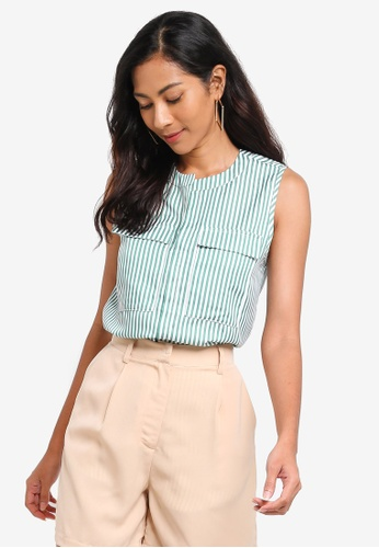 ZALORA BASICS green Basic Oversized Sleeveless Top A903FAA46099C1GS_1