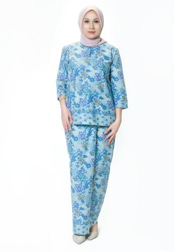 House Of Olsha blue and multi Batik Cotton Kurung Kedah - Dara Blue 6B274AA46BCE30GS_1
