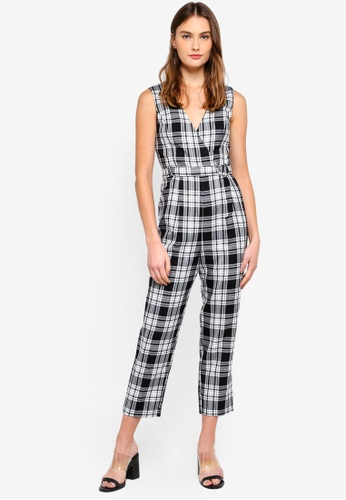 11965bf3c0 Miss Selfridge black Check Pinny D-Ring Jumpsuit 5E9F6AA7C16896GS 1