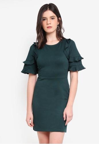 ZALORA green Ruffle Layer Sleeve Dress A28CEAAB45CD45GS_1