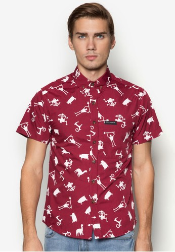Genesis 趣味印花短袖襯衫, 服飾,zalora 包包評價 服飾
