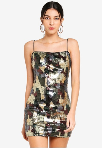 MISSGUIDED black Carli Bybel Camo Sequin Dress 5F3F7AA779B4B0GS_1