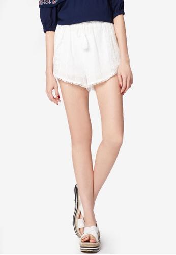 Tokichoi white Pom Pom Trim Embroidered Beach Shorts 5268BAAF099746GS_1