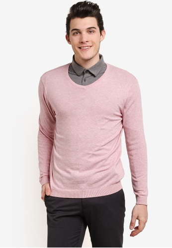 Burton Menswear London pink Pink V-Neck Jumper BU964AA0RJEQMY_1