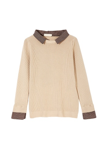 Its Me beige Fake Two Piece Stitching Plaid Sweater 7DDA9AA8DC1188GS_1