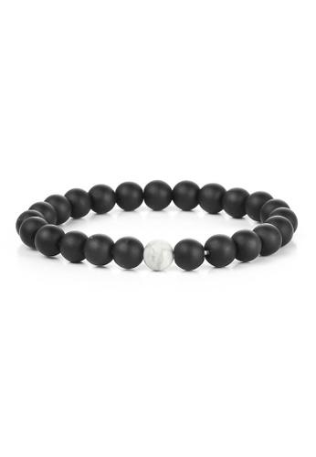 YOUNIQ black YOUNIQ Lava Stone More Black & White Fashion Round Bracelet 58EC9AC4FABE19GS_1