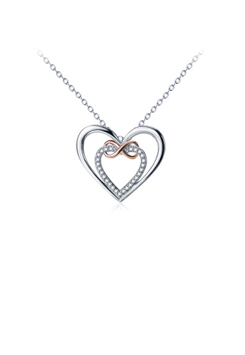 Glamorousky white 925 Sterling Silver Fashion Simple Double Heart Pendant with Cubic Zirconia and Necklace 018FAAC6820C98GS_1