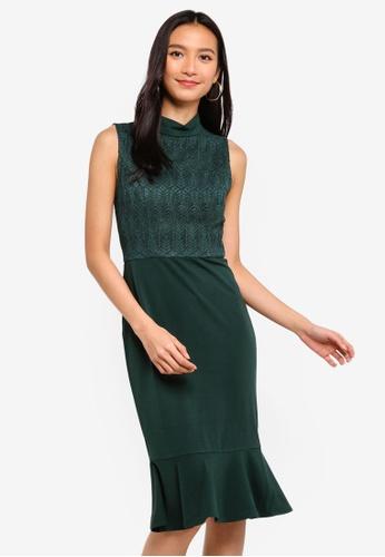 ZALORA 綠色 High Neck Mermaid Dress 06DAAAA32E5305GS_1