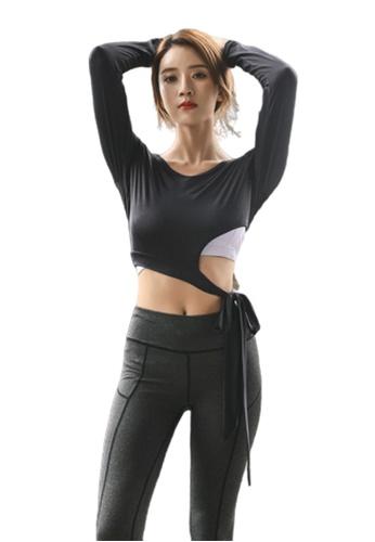 B-Code black ZYG3013-Lady Quick Drying Running Fitness Yoga Sports Top -Black 5351CAA8771937GS_1