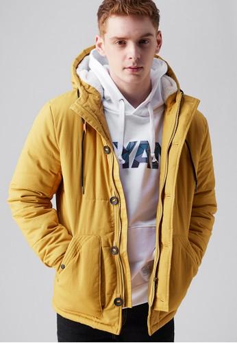 城市探索。美式剪裁。厚磅舖棉連帽外套-03686-黃色, 服飾, 外esprit 內衣套