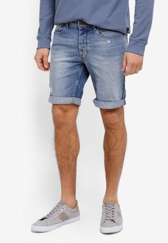 Burton Menswear London 藍色 Light Wash Distressed Denim Shorts BU964AA0SWMGMY_1