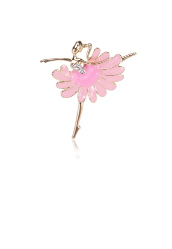 Glamorousky white Fashion Temperament Plated Gold Pink Ballerina Brooch with Cubic Zirconia 6FC6FAC771CFC2GS_1