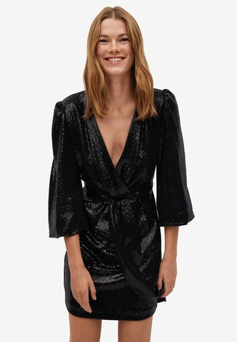 Mango black Sparkled Wrap Dress C75C1AAB48EADEGS_1