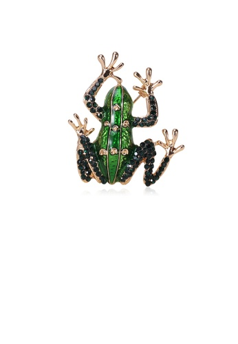 Glamorousky green Fashion Personality Plated Gold Frog Brooch with Green Cubic Zirconia 884E6AC3B6E32FGS_1