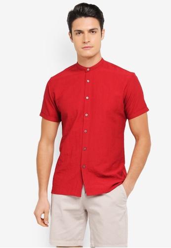 ZALORA red Grandad Collar Short Sleeve Shirt in Contrast Button C45D3AA5CEBA7EGS_1