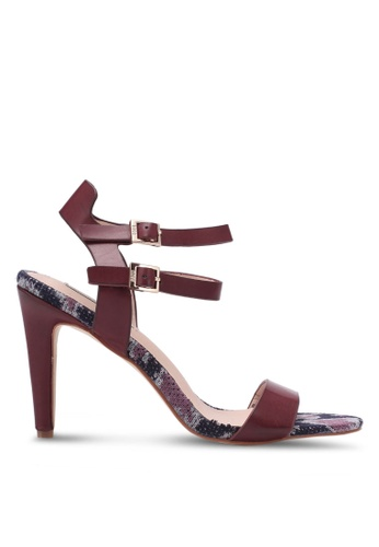 eae3af74e85 Shop Nose PU Tweed Ankle Two Strap Heel Sandals Online on ZALORA Philippines