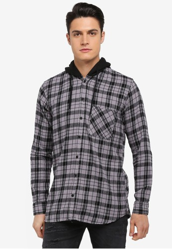 Factorie grey Longsleeve Hooded Shirts 63539AA983B382GS_1