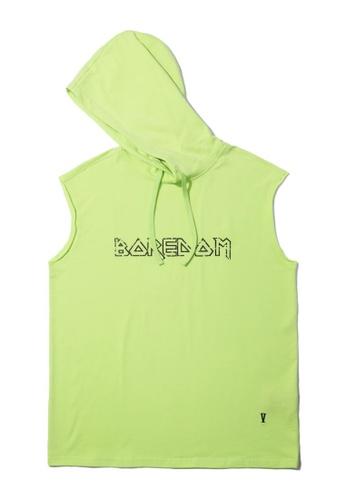 "Fivecm green ""Boredom"" sleeveless hoodie D942FAA222B006GS_1"