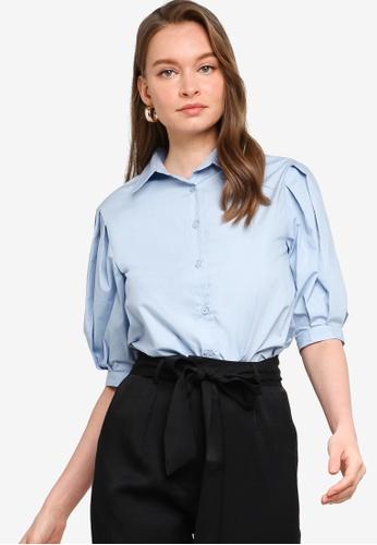 ZALORA WORK blue Puff Sleeve Shirt 06A7DAAB710F55GS_1