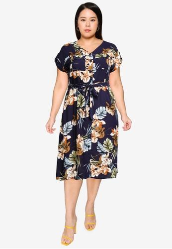 Dorothy Perkins navy Plus Size Navy Tropical Print Shirt Dress 5EFDBAAE748445GS_1