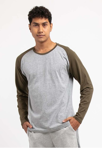 FOREST grey Forest 100% Cotton Round Neck Long Sleeve Plain Tee T Shirt Men - Baju T Shirt Lelaki Lengan Panjang - 23659 - 21MelGrey CB218AAB67A864GS_1