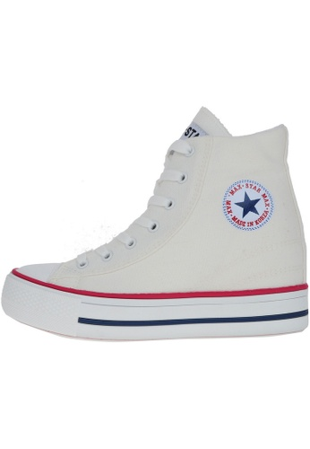 Maxstar 白色 新款韩国鞋C2-Line時尚帆布布混合女白色 US Women Size MA345SH42HDDTW_1